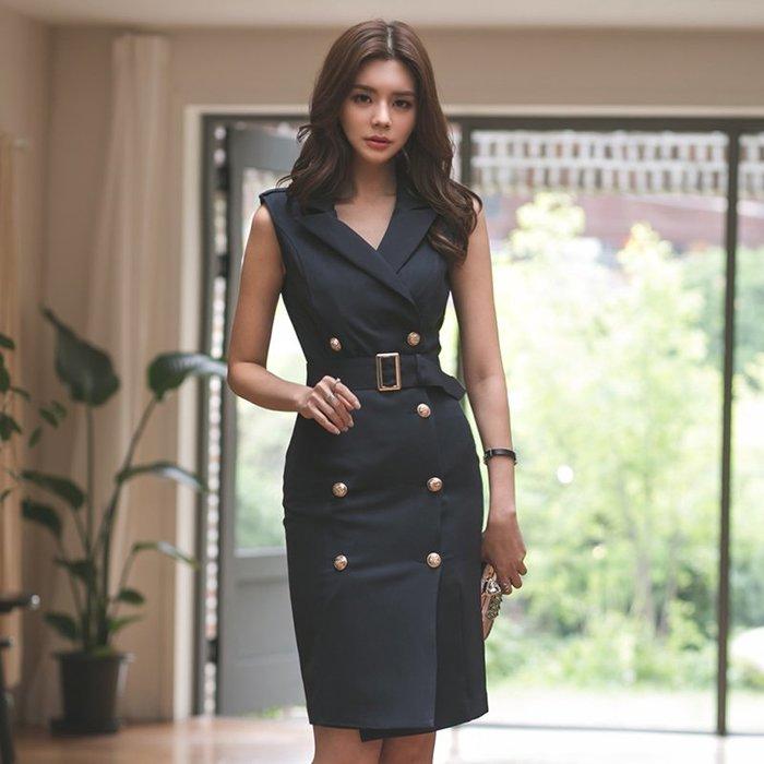 ☆噹噹小舖☆韓版氣質西裝領無袖雙排釦繫帶修身包臀洋裝