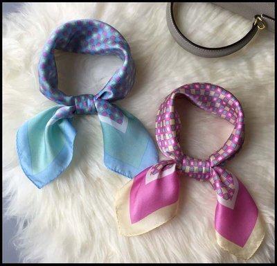 【Fashion歐洲站】桑蠶絲 純色邊幾何紋樣印花 女款薄款 素縐緞真絲小方巾絲巾圍巾