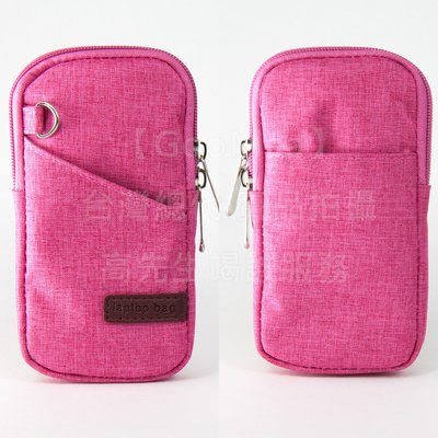 【GooMea】3免運 Samsung 三星 A40 5.9吋 拉鍊款 亞麻布 手拿袋 手拿 頸掛 玫紅