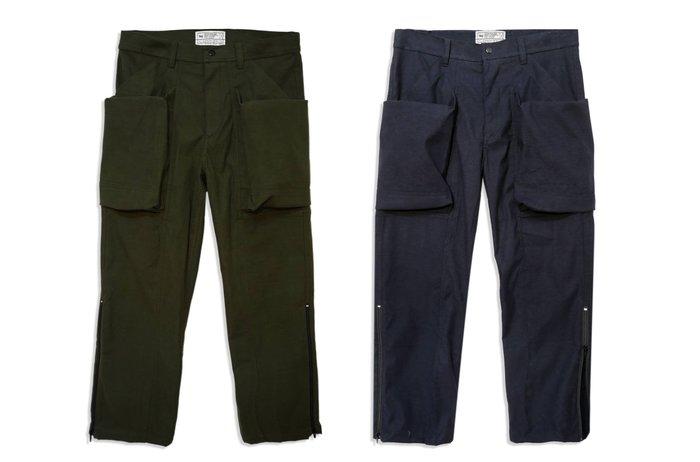 { POISON } LESS BIG POCKET PANT-S 錐型裁切 立體大口袋 褲腳拉鍊設計工作褲