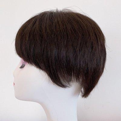 整頂假髮真髮絲短假髮-碎瀏海直髮自然仿真女假髮2色73vr35[獨家進口][米蘭精品]