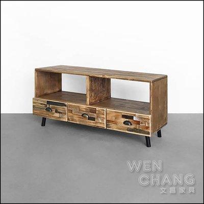 訂製品 仿舊復古 麥格文三抽電視櫃 矮櫃 CU058 *文昌家具*