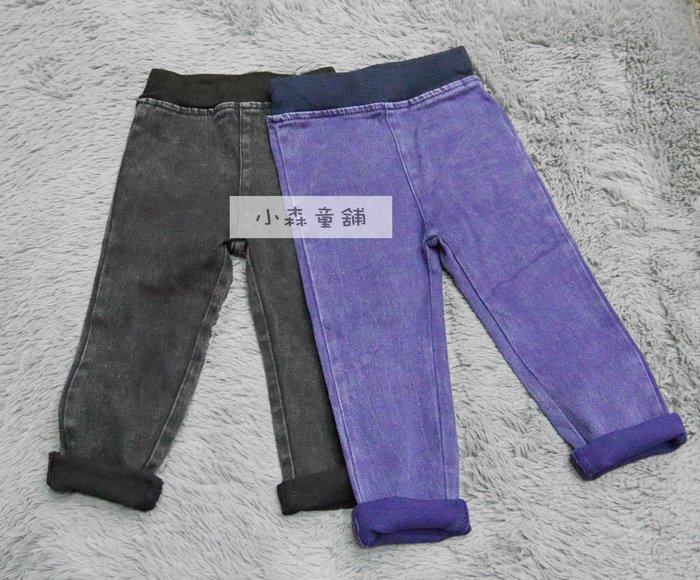 小森童舖  韓系風格 女童 牛仔色系 彈性合身貼腿褲內搭褲長褲 藍7號 零碼