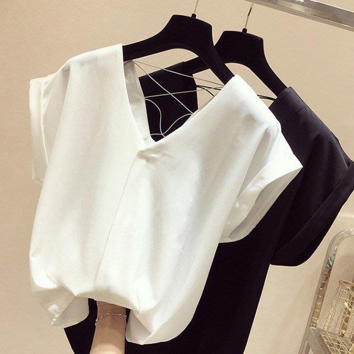 夏裝新款韓國后背交叉寬鬆雪紡衫女ins超火短袖T恤打底上衣潮M-L