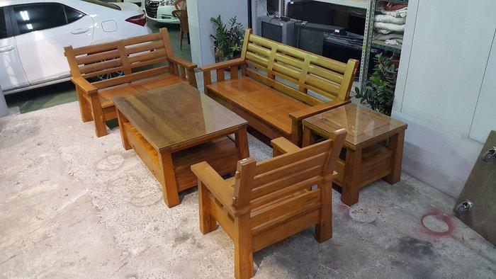 樂居二手家具 全新中古傢俱賣場 TK0411EJJJI 全新柚木1+2+3沙發含大小茶几組*原木沙發 客廳椅 泡茶桌椅