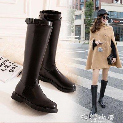 長筒皮靴女秋冬季新款韓版百搭粗跟騎士靴高筒靴軍靴馬丁靴子