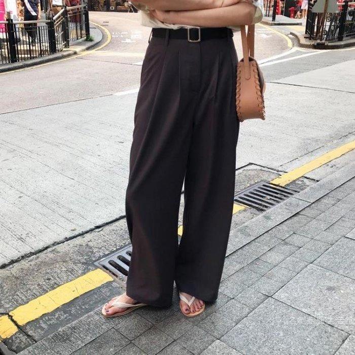 2019韓范簡約百搭顯瘦直筒高腰褶皺西裝長褲地拖褲女 尾牙