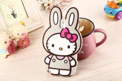 VINI。兔耳Hello Kitty 三星Note2 手機殼 矽膠殼 手機套 果凍套 灰色現貨