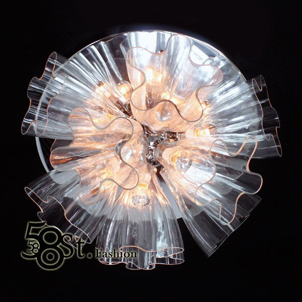 【58街】義大利設計師款式「喇叭花吸頂燈_透明反射款」複刻版。GZ-194