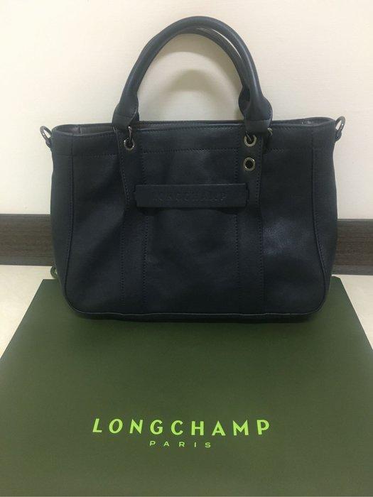 Longchamp 3D 手提肩背包小牛皮,深藍