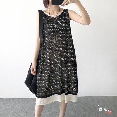 吊帶裙夏裝新品寬鬆中長版苧麻針織假兩件...