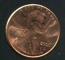【錢幣】United States(美國),1-CENT,2000D,林肯,品相全新UNC #1907297