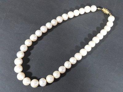 [銀九藝] 10.5~11mm 超大顆天然珍珠項鍊 頸鍊 總長~41.5公分 66公克