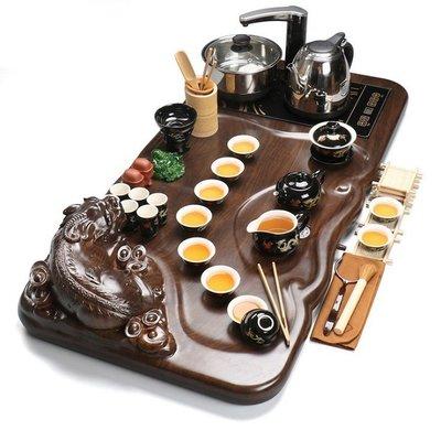 貔貅 四合一電磁爐整套實木茶盤茶具套裝...