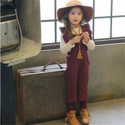 外貿韓版@2017春季新款女童花邊飛袖牛仔吊帶褲@KK.KIDS