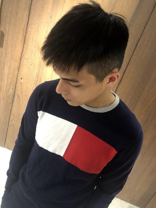 美國百分百【Tommy Hilfiger】針織衫 TH 線衫 毛衣 圓領 學院風 深藍色 logo XS號 J233