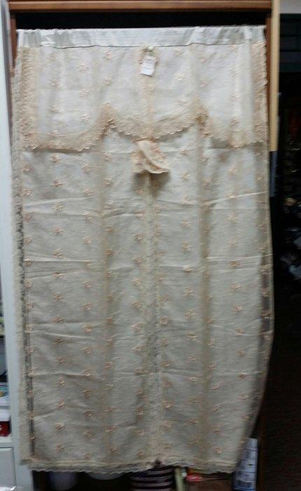 美生活館--全新鄉村風格拼布 溫蒂 咖啡色 薄紗 刺繡 蕾絲 雙層 長門簾/裝飾簾/櫃簾/窗簾 90*150 cm