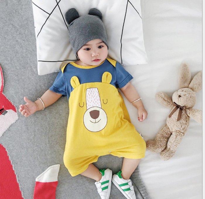 現貨~🍎MINI貝貝城🍎嬰兒服裝夏季寶寶爬服可愛卡通新生兒連體衣童裝潮(黃色)