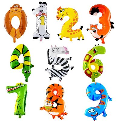 動物彩色數字氣球 寶寶生日百天布置 兒童卡通造型鋁膜氣球