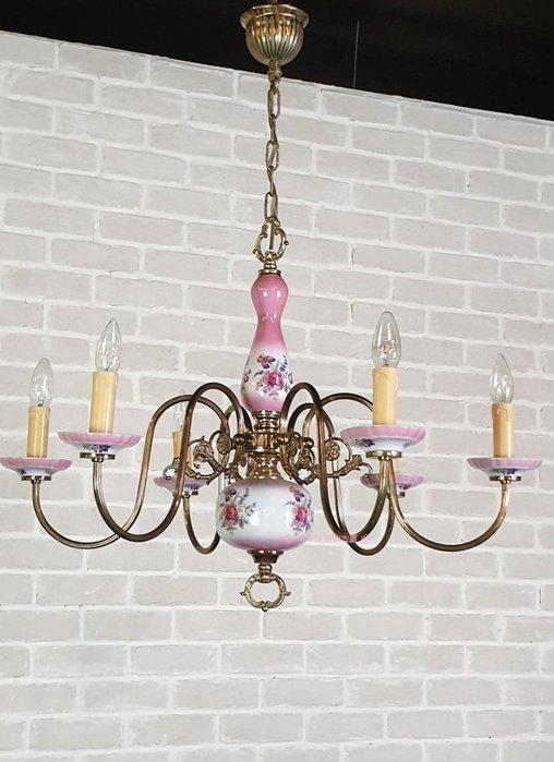 【卡卡頌  歐洲古董】法國老件 粉紅 玫瑰 瓷吊燈  古典吊燈  客廳燈  主燈  古董燈 l0319