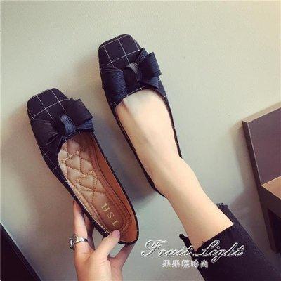 女鞋蝴蝶結淺口方頭平跟平底單鞋女百搭格子鞋