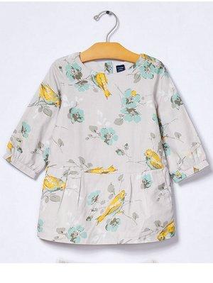降價囉~~Baby Gap 小鳥印花簡潔A字連身洋裝 100cm (3Y)