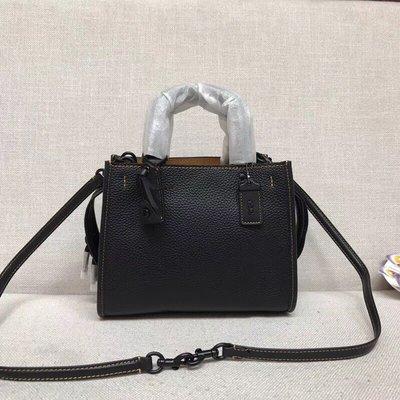 【紐約女王代購】COACH 54536 ROGUE 25 鵝卵石顆粒皮革 女士手袋 黑色  美國代購