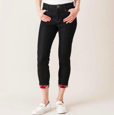 BURBERRY藍標新品牌BLUE LABEL CRESTBRIDGE 夏 skinny下格紋合身牛仔褲