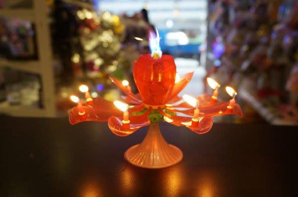 發光派對屋@玫瑰花造型雙層花瓣生日音樂炫光蠟燭