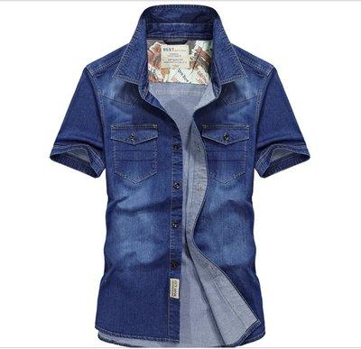 時尚服飾 夏季新款男士牛仔短袖襯衫休閑純棉男襯衣半袖寸衫55011
