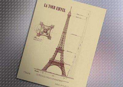 【貼貼屋】 巴黎鐵塔結構圖 懷舊復古 牛皮紙海報 壁貼 店面裝飾 經典電影海報 398