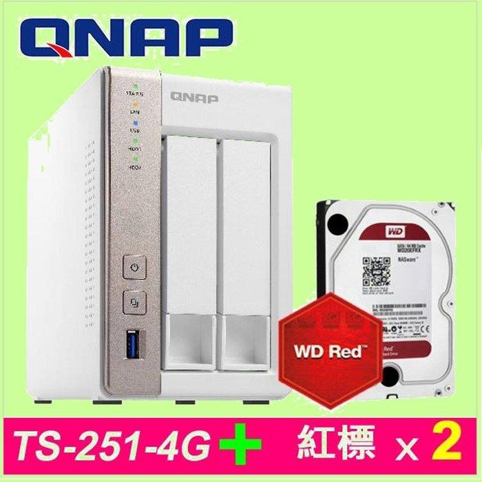 5Cgo【權宇】QNAP TS-251-4G 附WD WD20EFRX 2TB NAS用硬碟*2 NAS 含稅會員扣5%