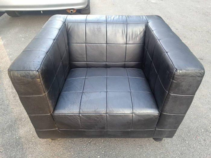 非凡二手家具 黑色皮革一人座沙發椅*床尾椅*床前椅*沙發椅*玄關椅*單人座沙發*躺椅*休閒椅