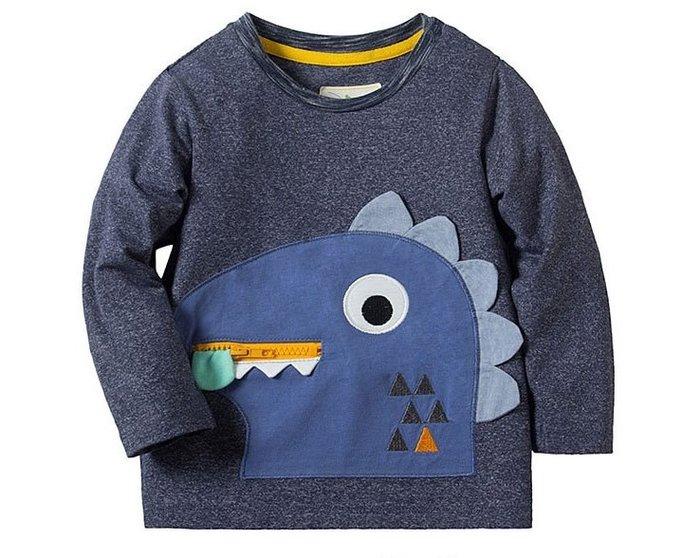 ☆草莓花園☆BM-2433藍色造型恐龍   新品歐美風兒童長袖衣服 純棉童T 男童 兒童t恤