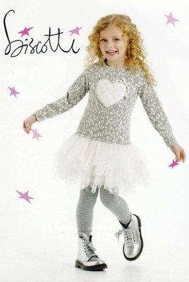 艾町Eyeing Shop 外貿正品 Biscotti春秋裝女童珍珠愛心連身洋裝蓬蓬裙+內搭褲 二件超值組 (產地印尼)