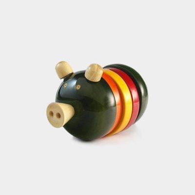 zhuzh -InDo 'Oinkston' Rattle 豬仔 手搖鈴(綠) -印度製造-木製無毒玩具-療癒小物