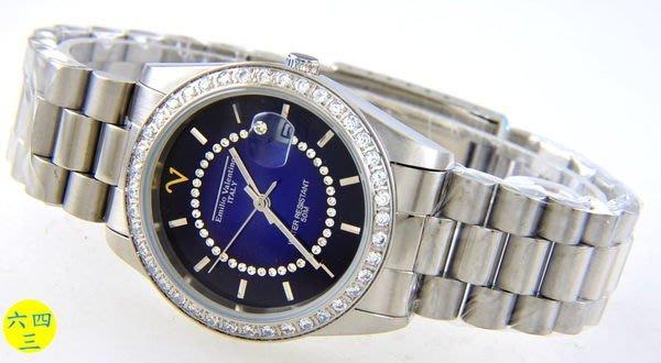 (六四三精品)Emilio Valentino(真品)手錶來自義大利的品牌珠寶純手工爪鑲嵌水晶.對錶(共二支).