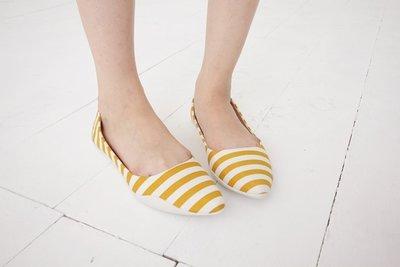 Pyf ♥ 換季出清 特價 現貨 芥末黃白條紋 氣質百搭 平底鞋 寬楦 40-42大尺碼女鞋