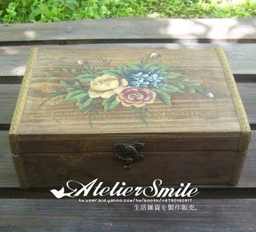 [ Atelier Smile ] 鄉村雜貨 限量手繪原木作舊木箱 (現貨)