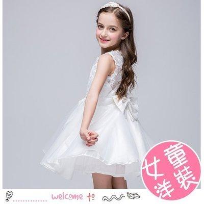 八號倉庫 女童公主蕾絲無袖蓬蓬裙 純白連衣裙 畢業/花童/禮服必備 【2B112P939】