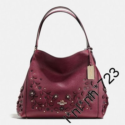 Coach Willow Floral Edie Shoulder Bag 31 In Pebble Leather burgundy red酒紅色皮手袋立體花