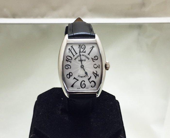 順利當舖  Franck Muller/法蘭克穆勒 原裝18K白金酒桶型7502中型帥氣女錶