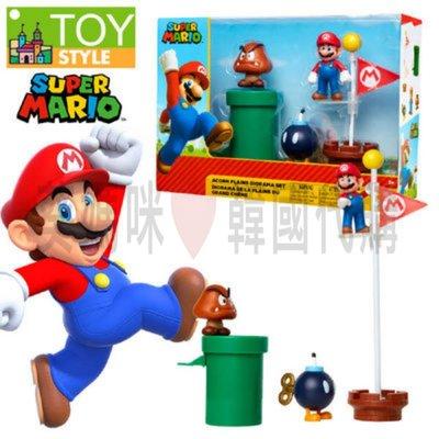 可超取🇰🇷韓國境內版 超級 瑪莉歐 super mario 旗子 過關 場景 公仔 人偶 玩具遊戲組 瑪利歐
