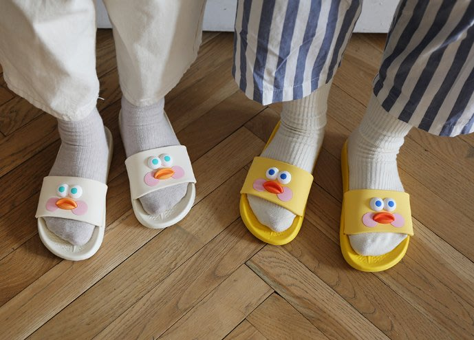 【Luxury】Brunch Brother Pop Eye Slippers 早午餐兄弟 黑白粉黃 防水拖鞋 韓國代購