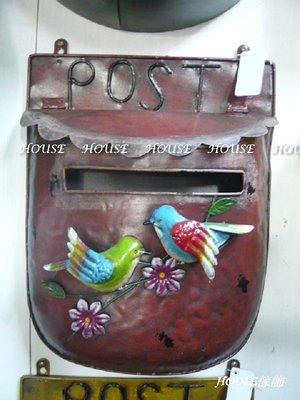 *台南佳里*︵House傢飾︵*鄉村風格~復古鐵皮彩繪花朵小鳥POST信箱【☆限量款/新發售☆】