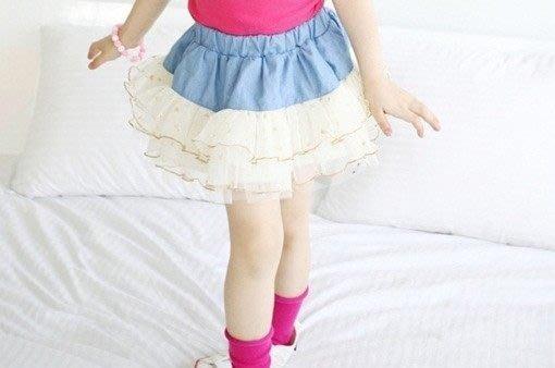*韓風寶貝*Q035女童拼接蕾絲金邊 半裙 現貨 特價