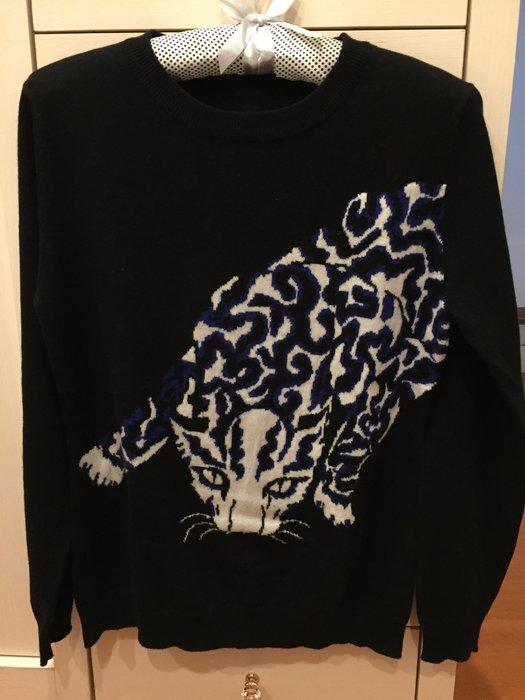 Stella McCartney豹子款 黑色藍豹cashmere長袖毛衣