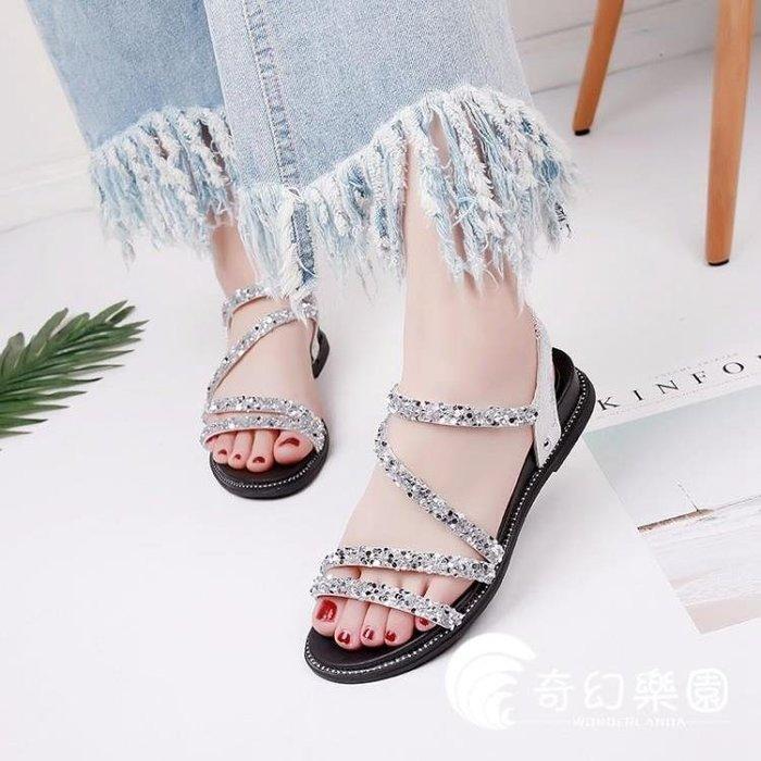 羅馬涼鞋-韓版羅馬時尚休閑露趾平底厚底一字扣帶女鞋子
