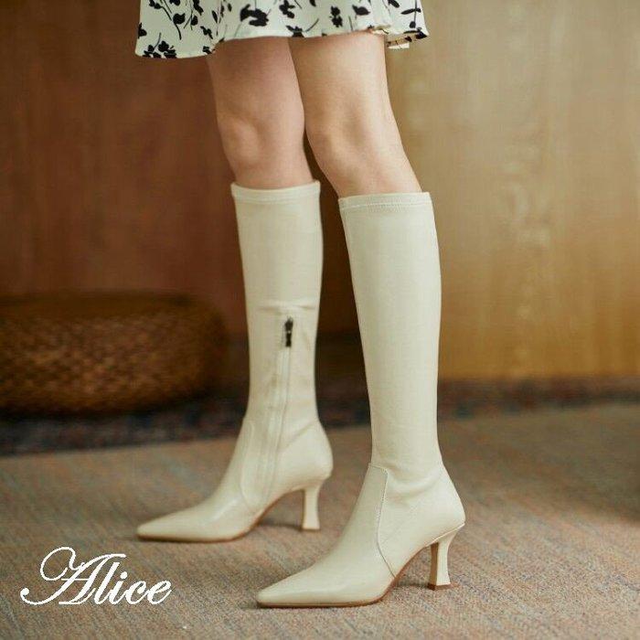 『Alice❤愛麗絲』原創設計!新款尖頭細跟長靴子不過膝高筒騎士靴高跟瘦瘦靴