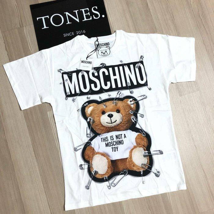 【TONES.】 MOSCHINO 18SS  Bear 迴紋針 泰迪熊 短TEE 最新款